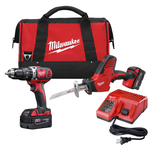 Milwaukee 2695-22 M18 18V Cordless Lithium-Ion 1/2 in. Hammer Drill and Hackzall Recip Saw Combo Kit
