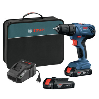 Bosch GSR18V-190B22 18V Lithium-Ion Compact 1/2 in. Cordless Drill Driver Kit with (2) 1.5 Ah SlimPack Batteries