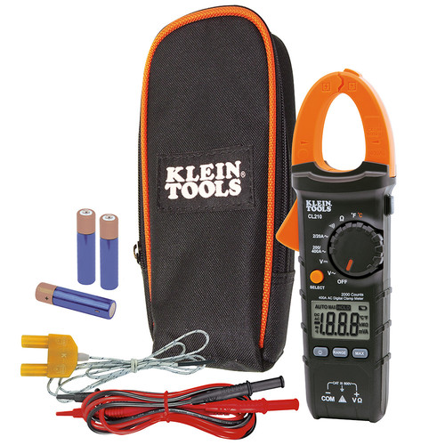 Klein Tools CL210 Digital AC Auto-Ranging Cordless Clamp Meter Tester with Thermocouple Probe Kit image number 0