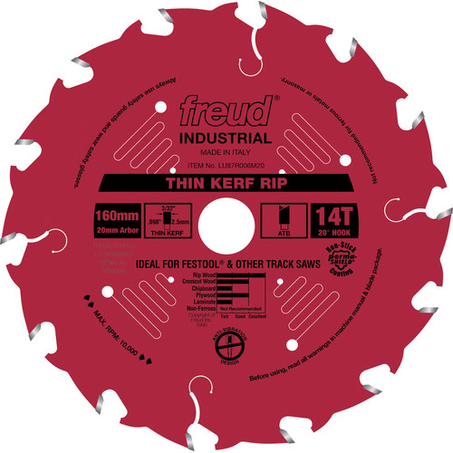 Freud LU87R006M20 160mm 14 Tooth Thin Kerf Rip Saw Blade