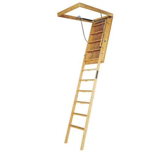 Louisville L305P Big Boy 350 lbs. Load Capacity 30 in. x 60 in. Open Ceiling Wood Attic Ladder for 10 ft. Ceiling Heights