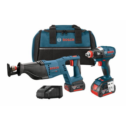 Bosch CLPK204-181 18V Cordless Lithium-Ion 1/4 in. Socket Ready Impact Driver and Reciprocating Saw
