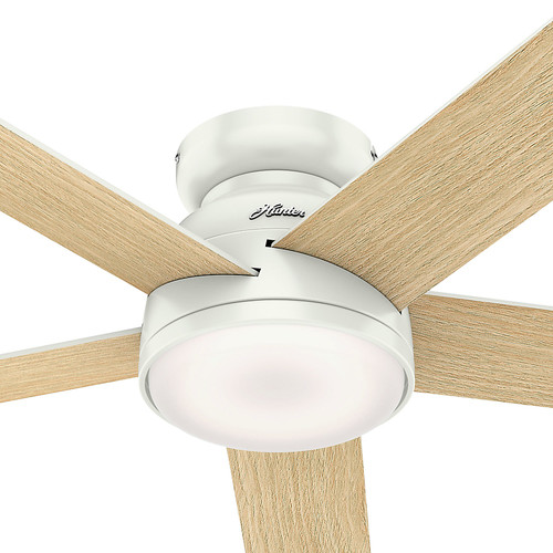 Hunter 59481 54 in. Romulus Fresh White Wifi Ceiling Fan with LED Light and Remote image number 2