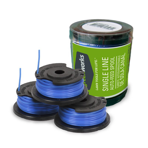 Greenworks 29252 0.065 x 20 ft. String Trimmer Single Line Replacement Spool (3-Pack) image number 0