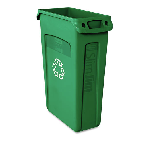 Rubbermaid 354007GN 23 Gal. Slim Jim Recycling Container with Venting Channels (Green)