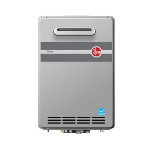 Rheem RTGH-95XLP Prestige Outdoor Liquid Propane Condensing Tankless Water Heater for 3 Bathroom Homes