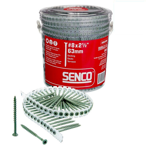 SENCO 08D250W 8-Gauge 2-1/2 in. Exterior Collated Decking Screw (800-Pack) image number 0