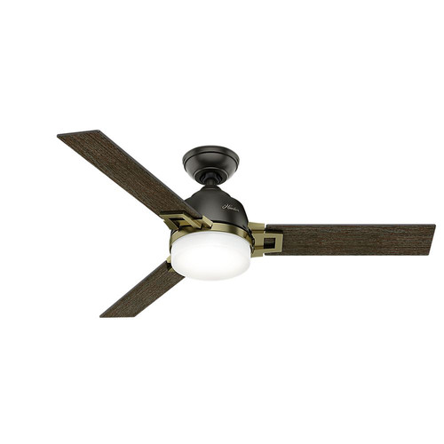 Hunter 59220 48 in. Leoni Noble Bronze and Modern Brass Ceiling Fan with Light and Remote