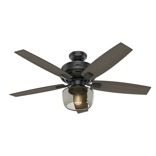 Hunter 54187 52 in. Bennett Matte Black Ceiling Fan with Light and Handheld Remote image number 0