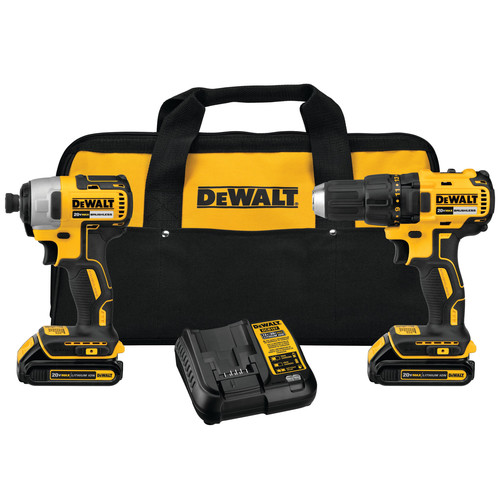 Dewalt DCK277C2 20V MAX 1.5 Ah Cordless Lithium-Ion Compact Brushless Drill and Impact Driver Combo Kit image number 0