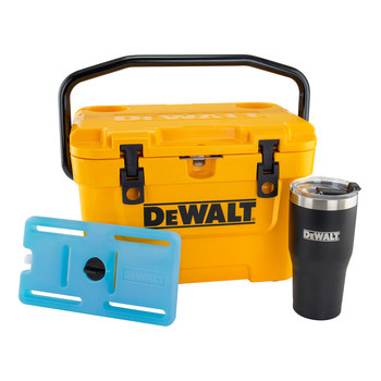 Dewalt DXC1013B 10 Quart Roto-Molded Lunchbox Cooler/30 oz. Black Tumbler Combo with Bonus 10 Quart Ice Pack