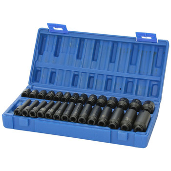 Grey Pneumatic 9728M 28-Piece 1/4 in. Drive 6-Point Metric Standard/Deep Length Master Impact Socket Set