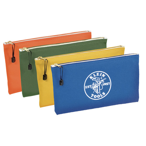 Klein Tools 5140 Canvas Zipper Bag Assortments, 12 1/2 in X 7 in, 4 per Pack image number 0
