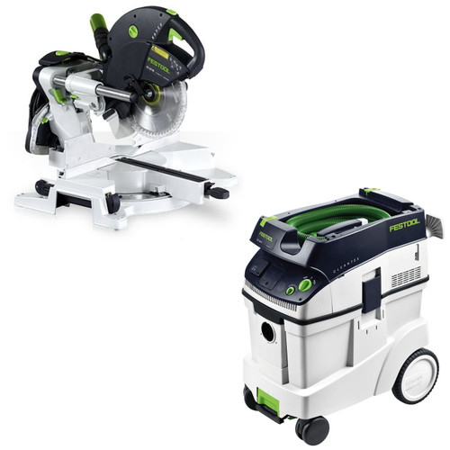 Festool KS 120 EB Kapex Sliding Compound Miter Saw with CT 48 E 12.7 Gallon HEPA Dust Extractor