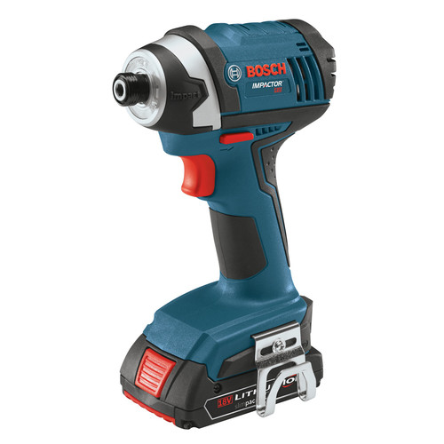 Bosch IDS181-02 18V Compact Tough 1/4 in. Hex Impact Driver with 2 HC SlimPack Batteries