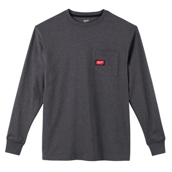 Milwaukee 602G-S Heavy Duty Long Sleeve Pocket Tee Shirt - Gray, Small