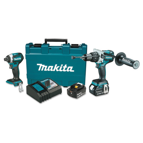 Makita XT268M 18V 4.0 Ah LXT Cordless Lithium-Ion Hammer Drill and Impact Driver Combo Kit image number 0