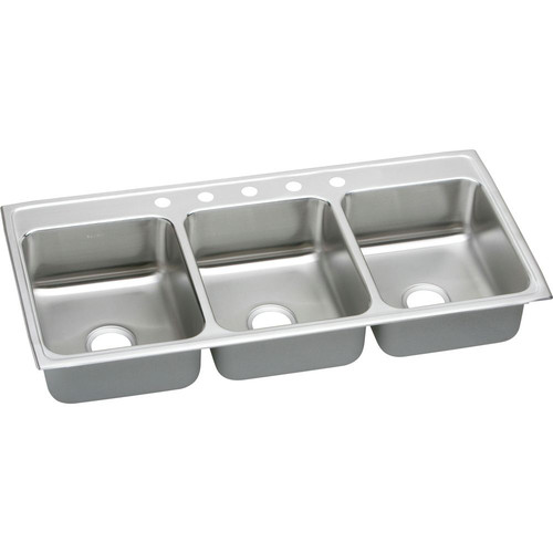 Elkay LTR46223 Lustertone Top Mount 46 in. x 22 in. Triple Bowl Sink (Stainless Steel)