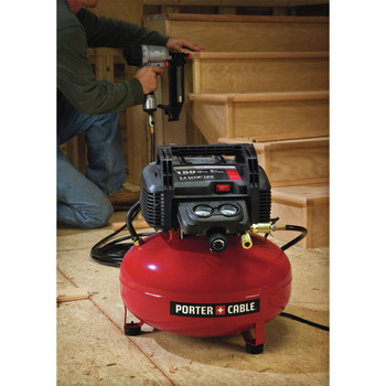 Factory Reconditioned Porter-Cable C2002R 0.8 HP 6 Gallon Oil-Free Pancake Air Compressor image number 6