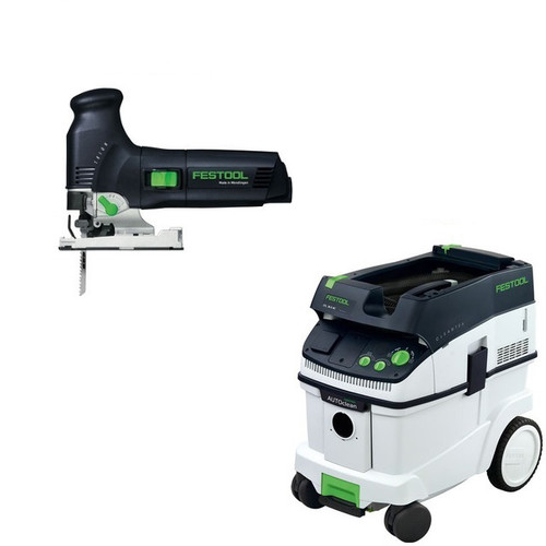 Festool PS 300 EQ Trion Barrel Grip Jigsaw with CT 36 AC 9.5 Gallon Mobile Dust Extractor