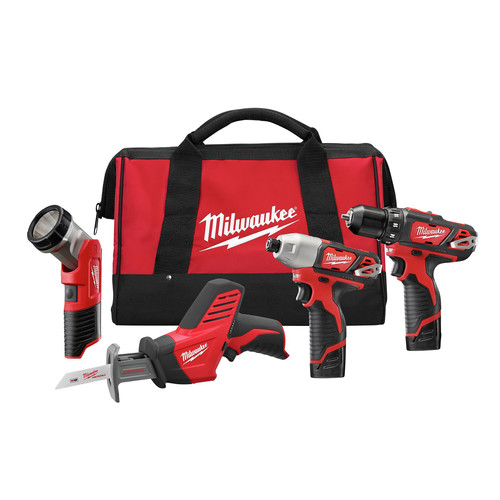 Milwaukee 2498-24 M12 12V Cordless Lithium-Ion 4-Tool Combo Kit