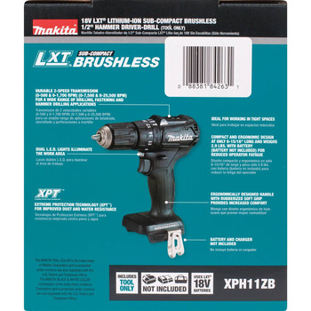 Makita XPH11ZB 18V LXT Lithium-Ion Brushless Sub-Compact 1/2 in. Cordless Hammer Drill Driver (Tool Only) image number 7