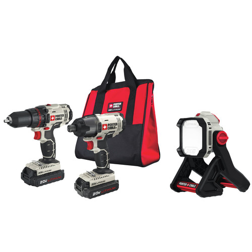 Porter-Cable PCCK604L2-L500BBNDL 20V MAX Cordless Lithium-Ion Drill Driver and Impact Drill Kit with LED Task Light image number 0