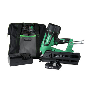 Factory Reconditioned Metabo HPT NR1890DRM 3-1/2 in. 18V Brushless Full Round Head Framing Nail Gun Kit