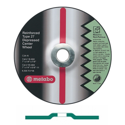 Metabo 655789000-10 9 in. x 1/4 in. ZA24T Type 27 Depressed Center Grinding Wheels (10-Pack)