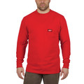 Milwaukee 602R-S Heavy Duty Long Sleeve Pocket Tee Shirt - Red, Small image number 1