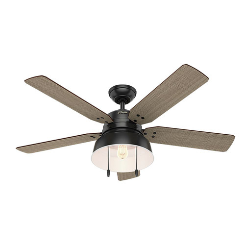 Hunter 59307 52 in. Mill Valley Matte Black Ceiling Fan with Light