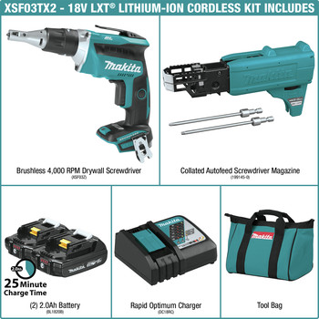 Makita XSF03RX2 18V LXT Lithium-Ion Compact Brushless Cordless 4,000 RPM Drywall Screwdriver Kit with Autofeed Magazine (2 Ah) image number 1