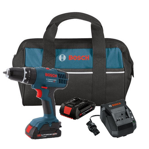 Bosch HDB180-02 18V 1.3 Ah Cordless Lithium-Ion 3/8 in. Hammer Drill Driver Kit with Contractor Bag