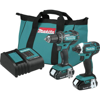 Makita CT225SYX 18V LXT Brushed Lithium-Ion 1/2 in. Cordless Drill Driver/1/4 in. Impact Driver Combo Kit (1.5 Ah)