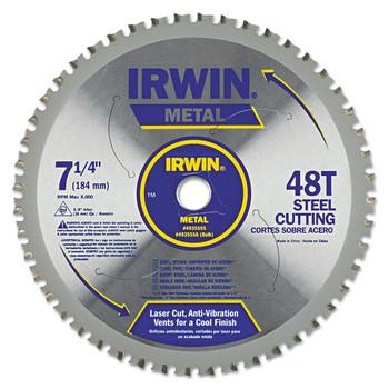 Irwin 4935555 7-1/4 in. 48-Tooth Metal Ferrous Steel Cutting Circular Saw Blade image number 0