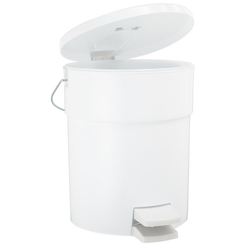 Rubbermaid 6142WHI Indoor Utility 4.5-Gallon Round Step-On Waste Container (White)