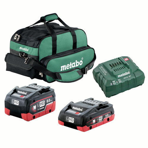 Metabo US625369011 Ultra-M 4 Ah and 8 Ah LiHD Battery (2-Pack), Charger, and Canvas Bag Kit image number 0
