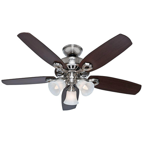 Hunter 52106 42 in. Builder Small Room Brushed Nickel Ceiling Fan with Light