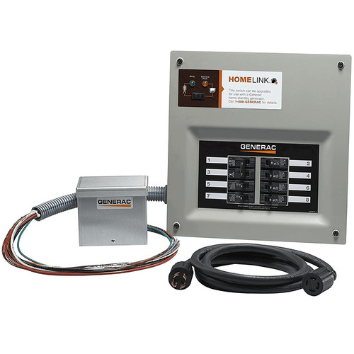 Generac 6854 30 Amp Indoor Transfer Switch Kit for 6-8 Circ Alum Pib & Conduit 30 Amp Plug, Upgradeable
