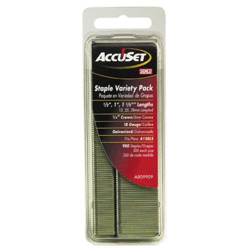 SENCO A809909 18-Gauge 1/4 in. x 1/2 in. - 1-1/2 in. Electro-Galvanized Finish Staples Variety Pack (900-Pack)
