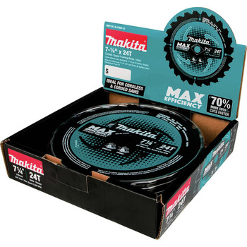Makita B-61656 7-1/4 in. 24T Carbide-Tipped Max Efficiency Framing Circular Saw Blade image number 5