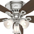 Hunter 53328 52 in. Builder Low Profile Brushed Nickel Ceiling Fan with Light image number 7