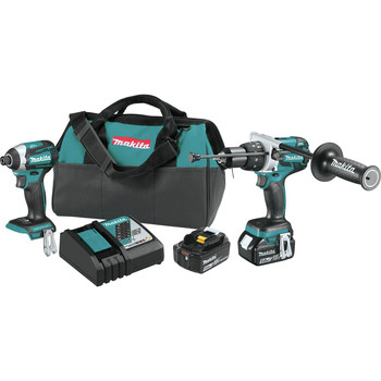 Factory Reconditioned Makita XT268T-R 18V LXT Brushless Lithium-Ion 1/2 in. Cordless Hammer Drill/ Impact Driver Combo Kit (5 Ah)