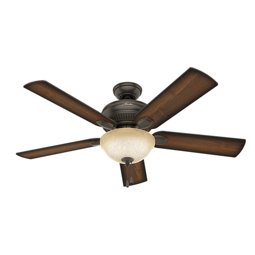 Hunter 54092 Matheston 52 in. Onyx Bengal Burnished Alder Outdoor Ceiling Fan with 2 Lights