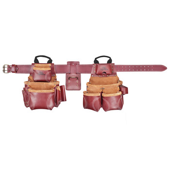 CLC 21453X 18 Pocket - Top of the Line Pro Framer's Heavy Duty Leather Combo Tool Belt System- XL