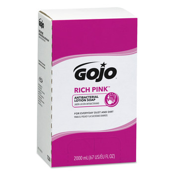 GOJO Industries 7220-04 4-Piece/Carton RICH PINK Floral Scent 2000 mL Antibacterial Lotion Soap Refill for PRO TDX Dispenser