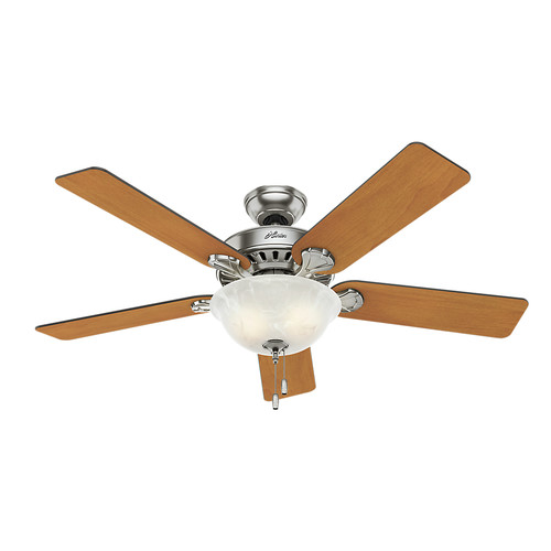 Hunter 53249 52 in. Pro's Best Five Minute Fan Brushed Nickel Ceiling Fan with Light image number 0