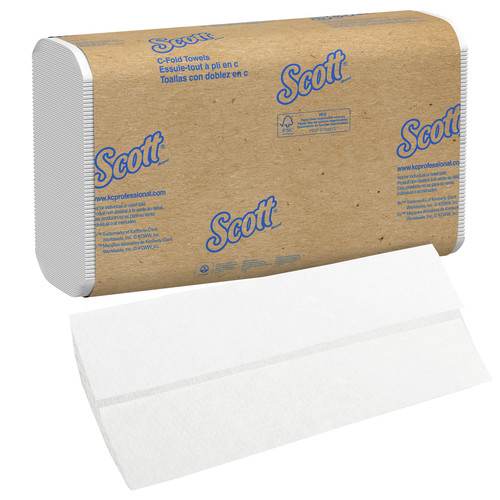 Scott 1510 200-Piece/Pack, 12 Packs/Carton Essential 10.125 in. x 13.15 in. C-Fold Paper Towels - White image number 0