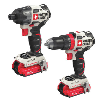 Factory Reconditioned Porter-Cable PCCK619L2R 20V MAX Lithium-Ion Brushless 1/2 in. Cordless Drill Driver / 1/4 in. Cordless Impact Drill Combo Kit (1.5 Ah)