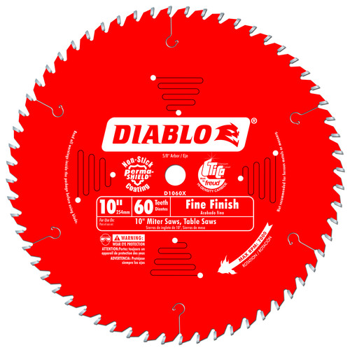 Diablo D1060X 10 in. 60 Tooth Fine Finish Saw Blade image number 0